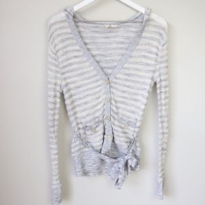 MOTH Anthropologie Striped Hooded Cardigan Sweater